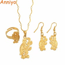 цена на Anniyo PNG Monkey Necklaces Earrings Ring Jewelry Sets for Women's,Papua New Guinea Fashion Ethnic Jewelry #112606