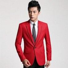 New 2017 High Quality Mens Fashion Red Dress Blazer Jacket Mens Casual Blazers Men Korean Slim