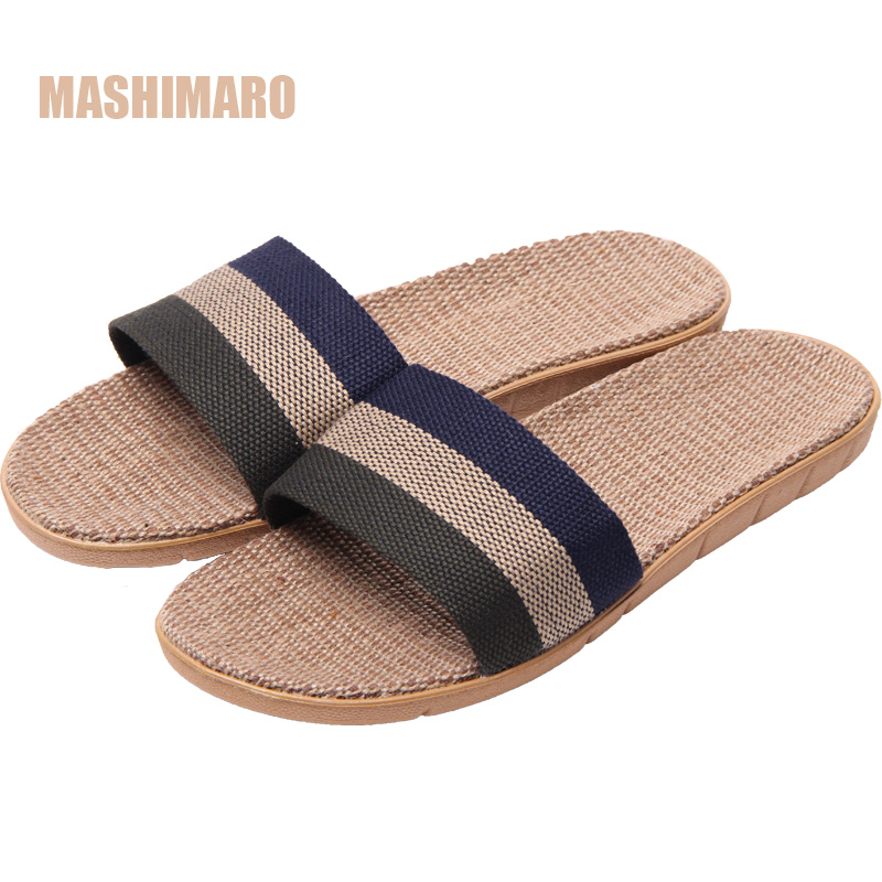 Mashimaro New Arrival Men's Summer Linen Silppers Breathable Non-slip Fashion Indoor Slippers Men's Hemp Basic Slides Slippers mashimaro new arrival men s linen slippers cotton fabric hemp slippers beach non slip indoor slippers men s fashion slippe