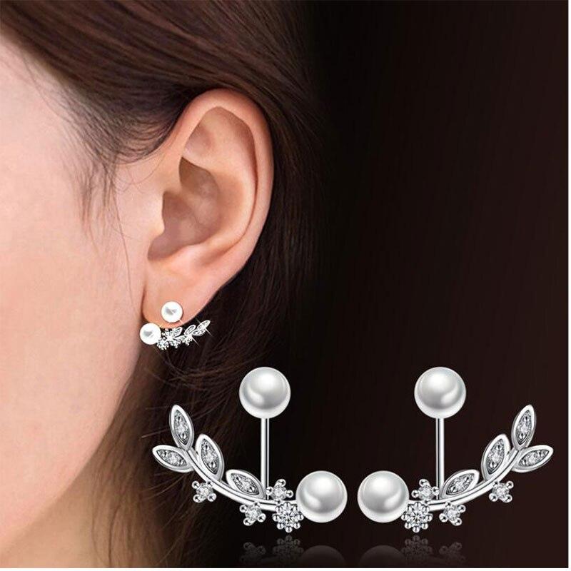 Women's Hot Elegant 925 Sterling Silver Natural Zircon Leaf Pearl Drop Earrings
