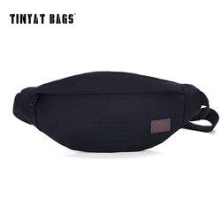 TINYAT New Men Casual Waist Pack Bag Brand Canvas Shoulder Fanny Pack Women Belt Bag Pouch Money Phone Bum Hip Bag Black T201