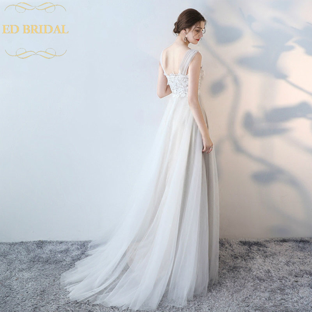 2018 Simple Wedding Dress The Bride Married Lace Backless Long Sweep Traing Grace Vestido De Noiva In Dresses From Weddings Events