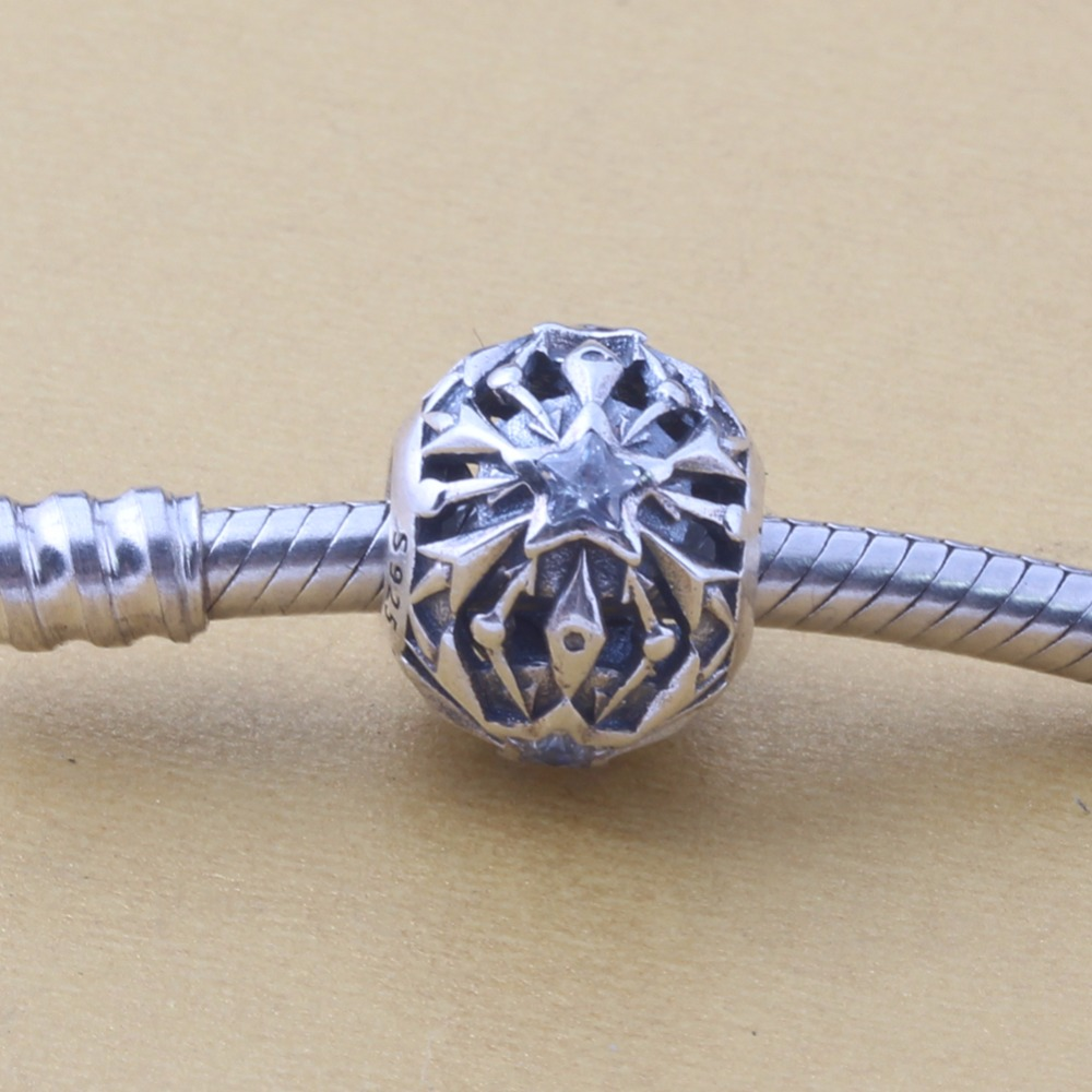 ZMZY Original 925 Sterling Silver Charm Star with Clear Cubic Zirconia Beads For Pandora Charms Bracelets Accessories