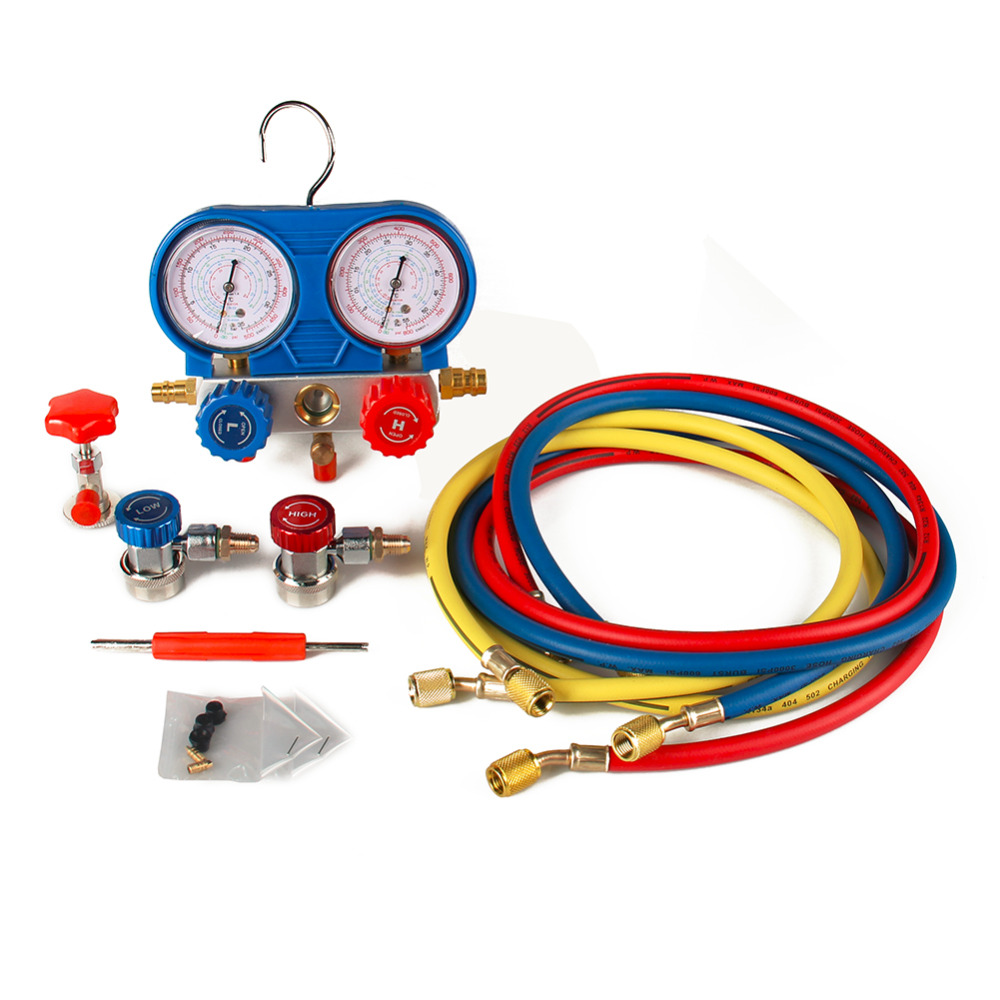 CarBole car Auto Goplus A/C for Manifold Gauge Set R134A Refrigeration Kit Brass car Auto Serivice Kit R134A Refrigeration testo 550 1 refrigeration manifold kit 0563 5505 with 1 clamp probe surface temperature measurement