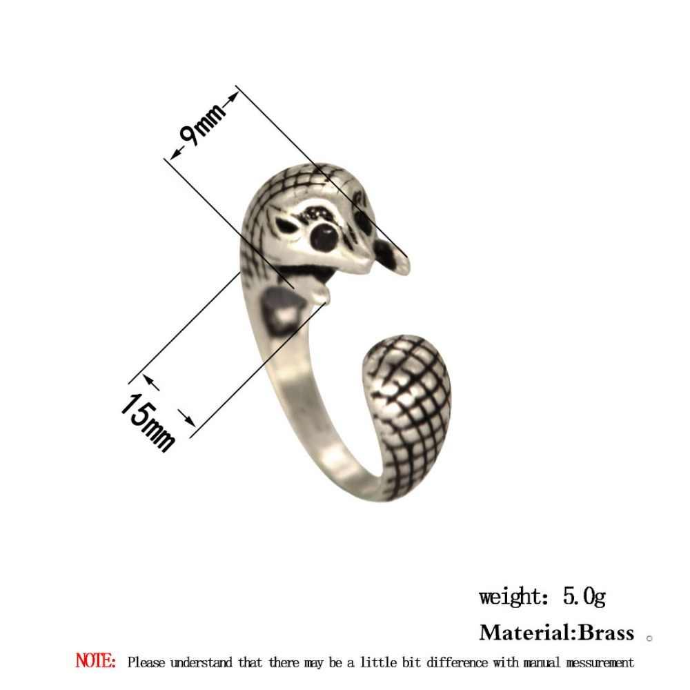 QIAMNI Винтаж Анель панк прекрасный Регулируемый 3D Ежик животное кольцо Шарм для женщин девочек Рождество подарок на день рождения крутые ювелирные изделия