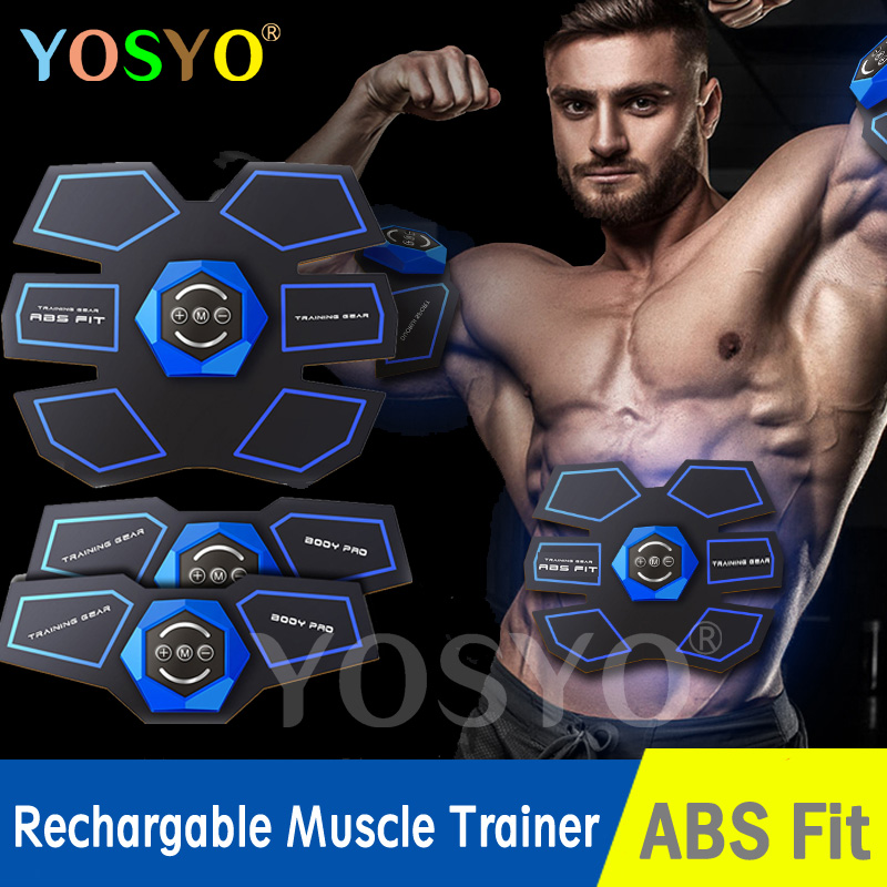 USB Rechargeable EMS Muscle Stimulator Abdominal Muscle Trainer Exerciser Electric Body Shaping Massager Slimming Patch Vibrator new rechargeable electric muscle stimulator ems body slimming abdominal muscles training machine body toning arm waist massager