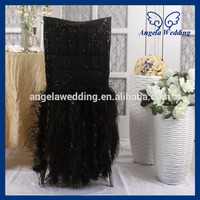 CH017D Luxury 2017 expensive wedding chiavari black sequin and Ostrich feather chair covers