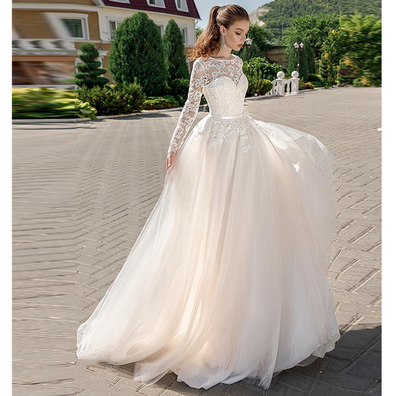 2019 Long Sleeve Bridal Dress Illusion Bateau Lace Sweetheart Neckline Romantic A Line Wedding Dress Backless Sweep Train