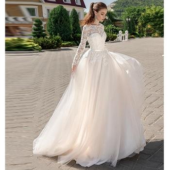 2019 Long Sleeve Bridal Dress Illusion Bateau Lace Sweetheart Neckline Romantic A line Wedding Dress Backless Sweep Train фото