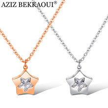 AZIZ BEKKAOUI Fashion Stainless Steel Star Pendant Necklace Rose Gold Crystal Choker Necklace for Women Jewelry Gift(China)