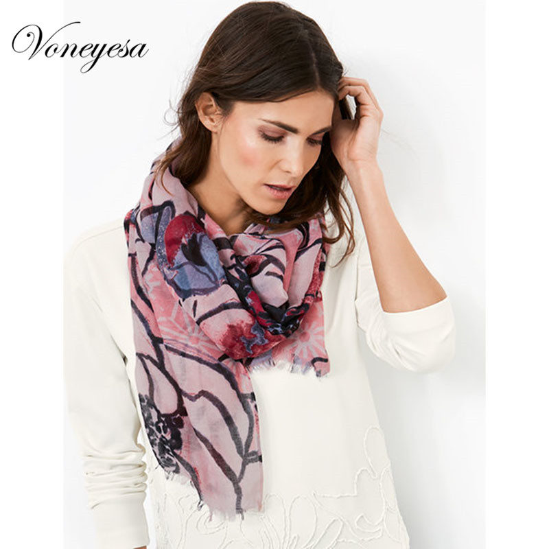 Voneyesa Women Scarf New Printed Long Polyester Scarves with Tassel Luxury Brand Fashion Scarf For Women 2018 New Style Hijab