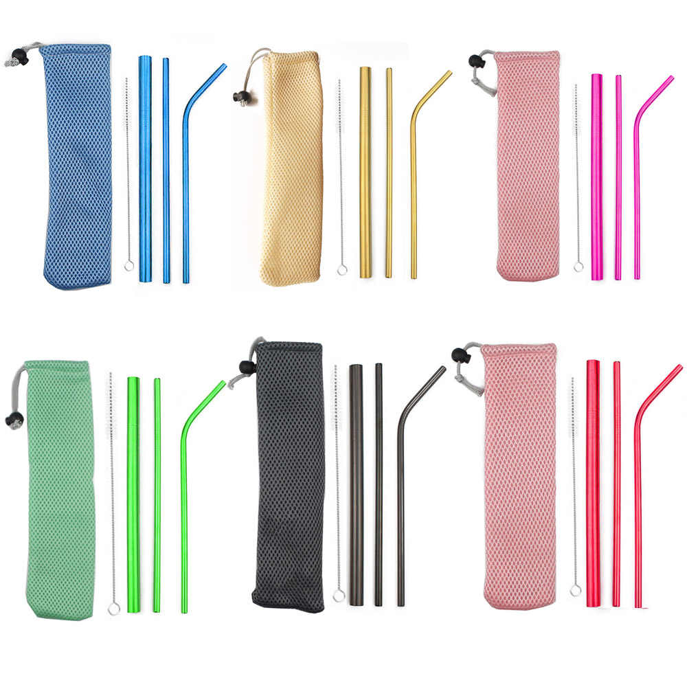 5Pcs Bubble Tea Stainless Steel Straw Reusable Drinking Straws Set Curved Metal Straws Bag with Brush For Smoothies Juice Tea