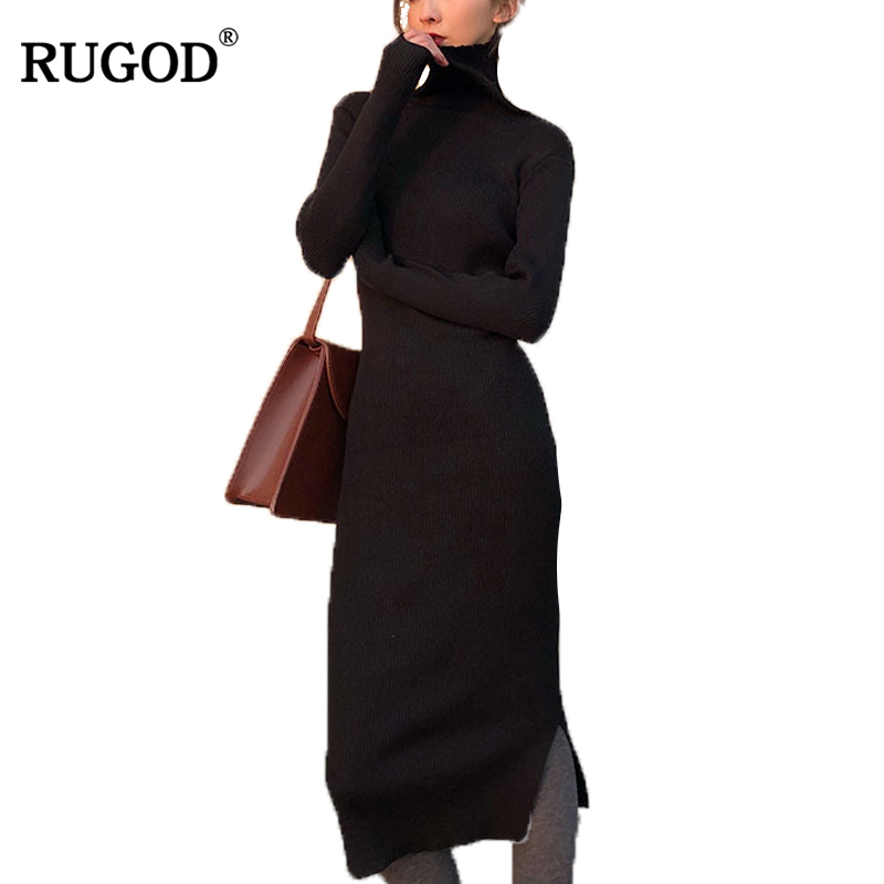 RUGOD New Turtleneck Knitted Sweater Dress Women High Elastic Slim Long Sleeve Bodycon Dress Female Autumn Winter Warm Dresses new 2017 hats for women mix color cotton unisex men winter women fashion hip hop knitted warm hat female beanies cap6a03
