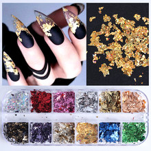 Nail Sequins Paillette Aluminum Irregular Flakes Gold Silver Pigment Nail Art Decoration Mirror Glitter Foil Paper Nail Designs(China)