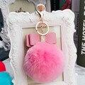 Luxo Cristal Rhinestone Bowknot Chaveiro Pele De Coelho Pompom Fofo Chave Titular Chaveiro Charme da Mulher Saco de Ombro e bolsa Pingente Carro