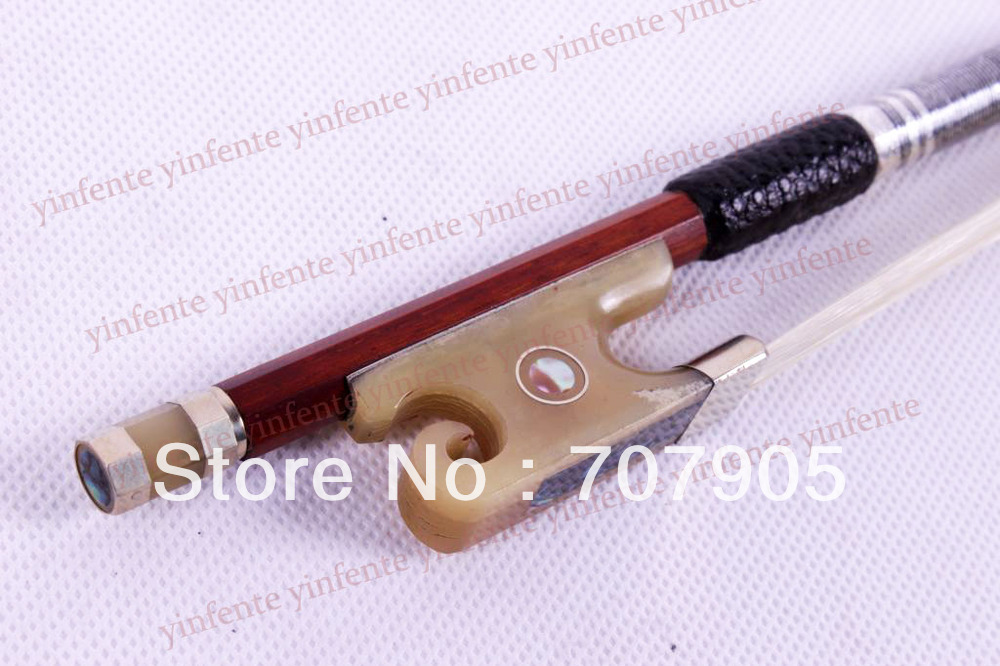 New 4/4 Violin Bow Silver Color Bow string  Ox horn Frog Brazil wood brazil football fans caxirola cheer horn for 2014 brazil fifa world cup