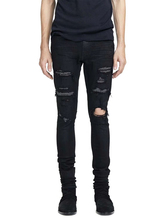купить American Street Style Fashion Men Jeans Black Patchwork Destroyed Ripped Jeans Men Broken Pants Brand Hip Hop Skinny Jeans homme по цене 2500.39 рублей