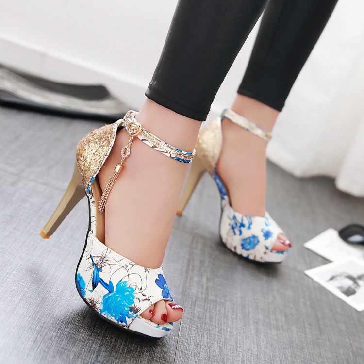 Große Größe 15 16 High heels sandalen frauen schuhe frau sommer damen Fisch mund mit schnalle sexy high heels