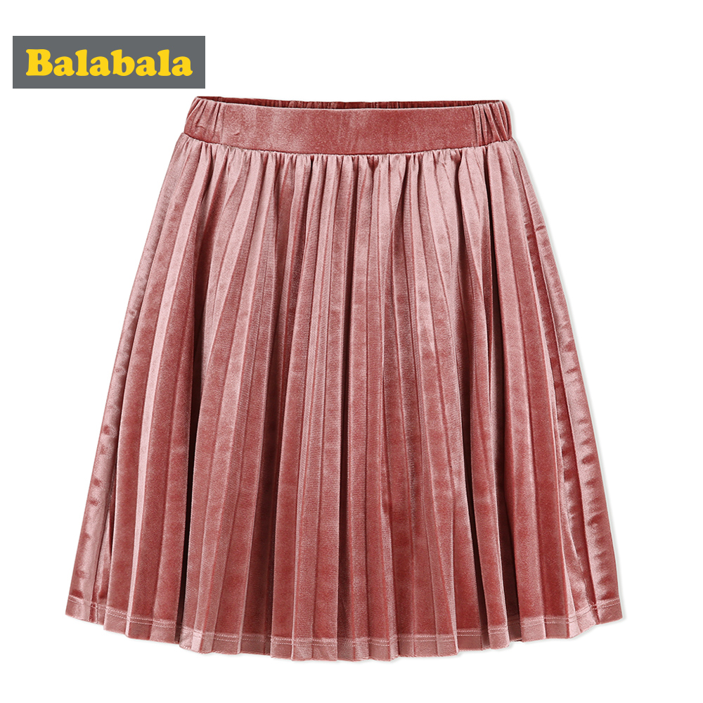 balabala Girls Short Skirt For Children Autumn 2018 New Retro High Waist Mid-length Skirt French Elegant Girls Skirts For Kids high waist floral print elegant ball gown midi skirt for women
