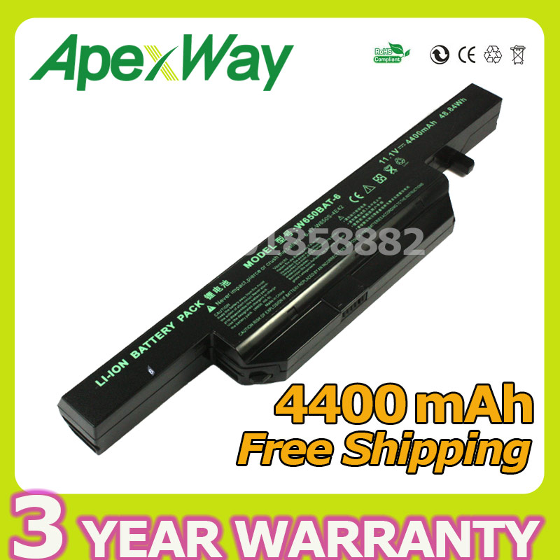 4400mAh 6 Cells Laptop Battery For Clevo W650BAT-6 K590C-I3 K610C-I5 G150S K650D K750D G150TC G150MG K4 K5 P4-I54572d1 W650S origianl clevo 6 87 n350s 4d7 6 87 n350s 4d8 n350bat 6 n350bat 9 laptop battery