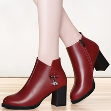 Large Size Autumn 35-40 Sexy Square High Heel Fashion Black Red Round Toe Women Boots Simple Platform Ankle Boots Shoes YG-A0006 anmairon fashionhigh heels round toe platform shoes woman black shoes sexy red zippers ankle boots for women large size 34 43