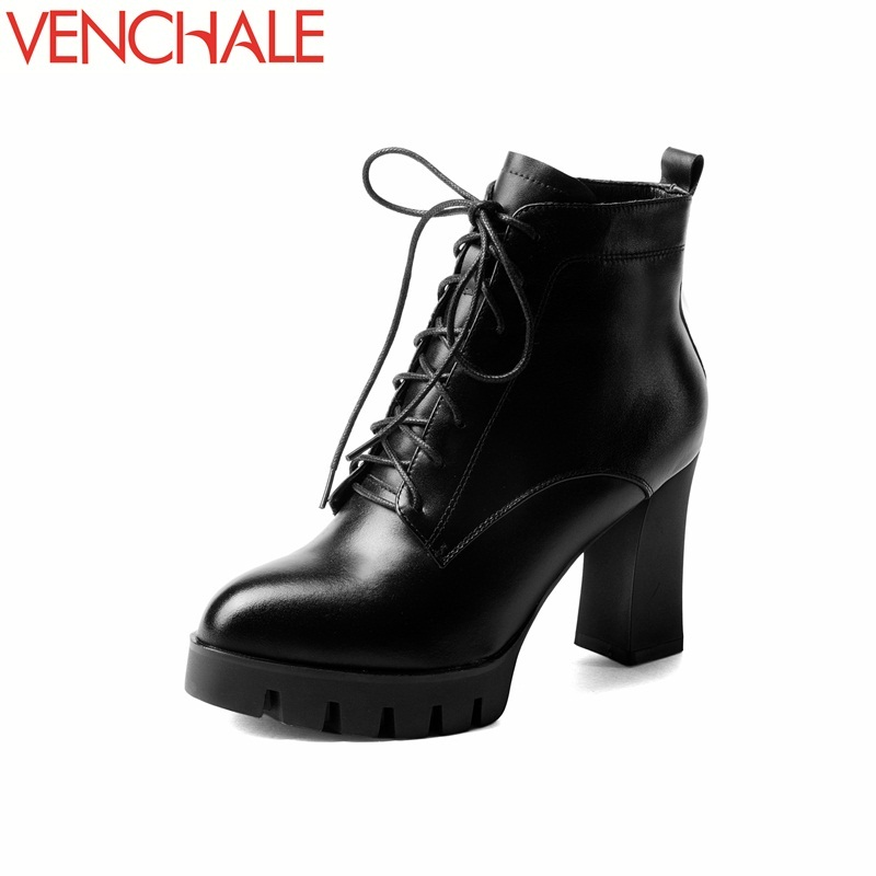 цена на VENCHALE ankle boots lace-up hot sale lengthen leg ministry line genuine soft leather breathable women two choose winter shoes
