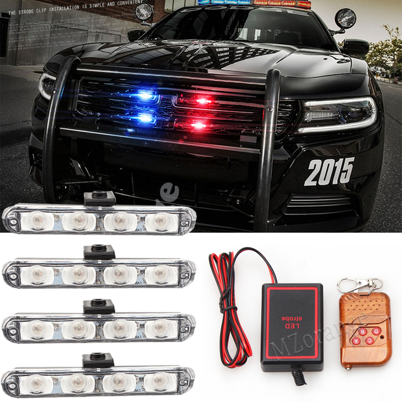 4x4 / dioda LED DRL pogotowie światło policyjne 12V Strobe Light Warning 4 in 1 Wireless Remote Car Truck Light Flashing Firemen Lights