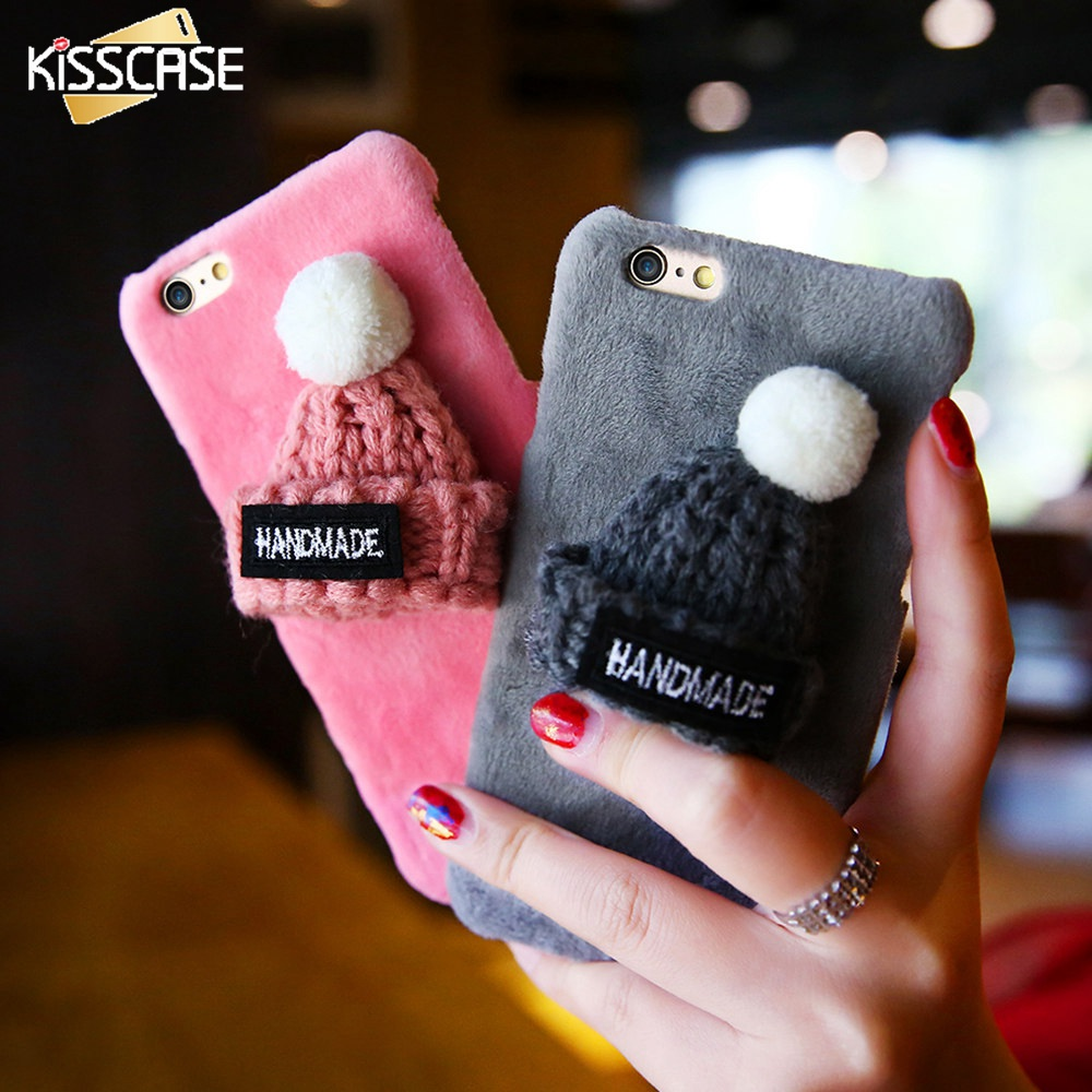 KISSCASE Winter Plush Case For iPhone 7 6 6s Plus Lovely Knitted Hat Phone Back Cover Cute Girly Christmas Cap Hard Cases<