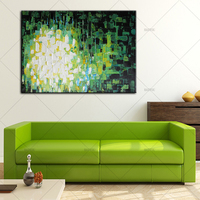 Free Shipping Artist Handmade Green White And Red Oil Paints Unique Modern Abstract Pop Oil Painting For Living Room Decoration