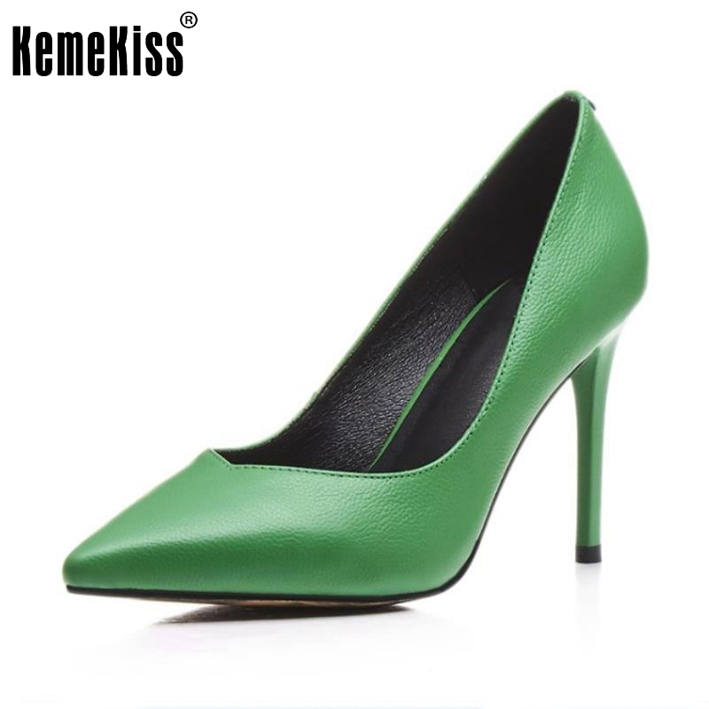 Women Genuine Leather High Heels Shoes Women Thin Heels Pumps Pointed Toe Party Sexy Fashion Shoes Ladies Footwear Size 34-39 sexy black leather pointed toe high heels pumps shoes newest woman s lace up thin heels shoes party shoes