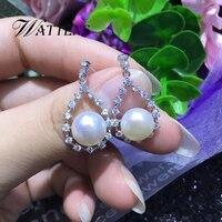 925 пробы серебряные серьги-подвески с натуральным камнем пресноводные жемчужные серьги для женщин в богемном стиле, крупноразмерные блестя...