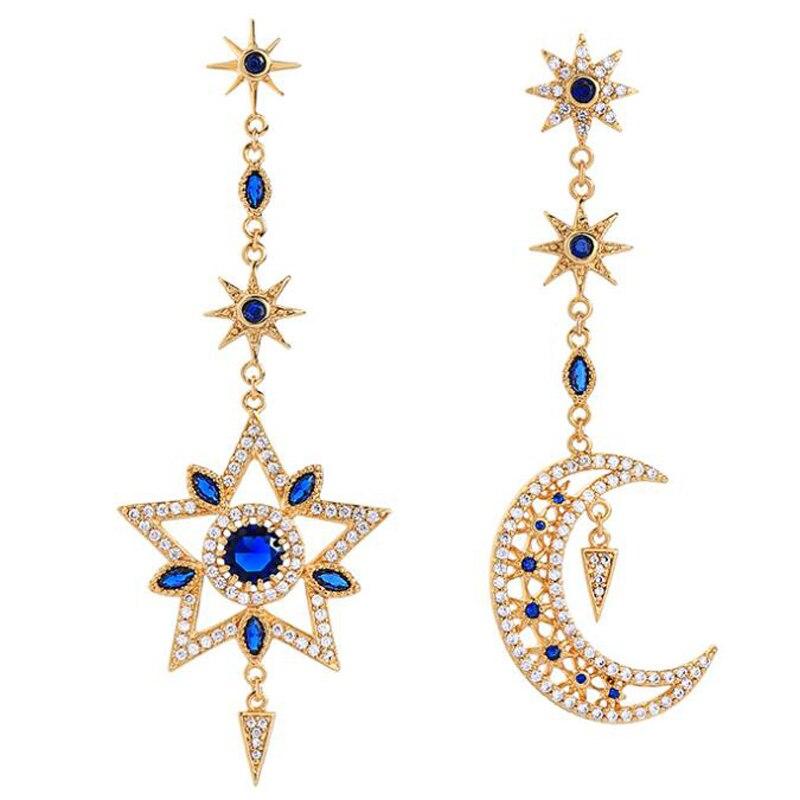 Blue bird tears elegant zircon star asymmetrical earrings women earrings women accessories