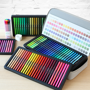Image 5 - KACO أقلام ألوان مائية مزدوجة الأطراف فرشاة غير سامة وقلم سكريبتلاينر للرسم طقم هدايا 100 لون مع حقيبة يد