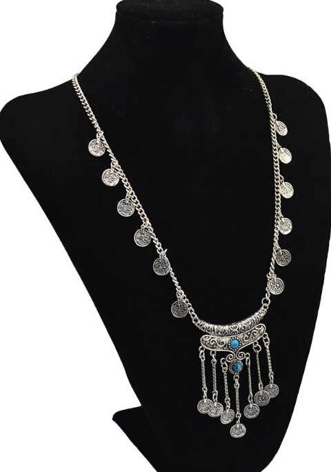 Statement Jewelry Ethnic Vintage Bohemian Gypsy Tibet Long Stone Carved Coin Necklaces & Pendants Sweater Chain For Women