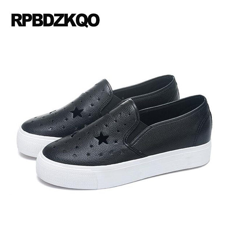 Sneakers Loafers Black Summer Women Ladies Beautiful Flats Shoes Hollow Out Slip On Platform Round Toe 2017 Chic Breathable Star hollow out breathable women sandals bowtie loafers sweet candy colors women flats solid summer style shoes woman st6 29