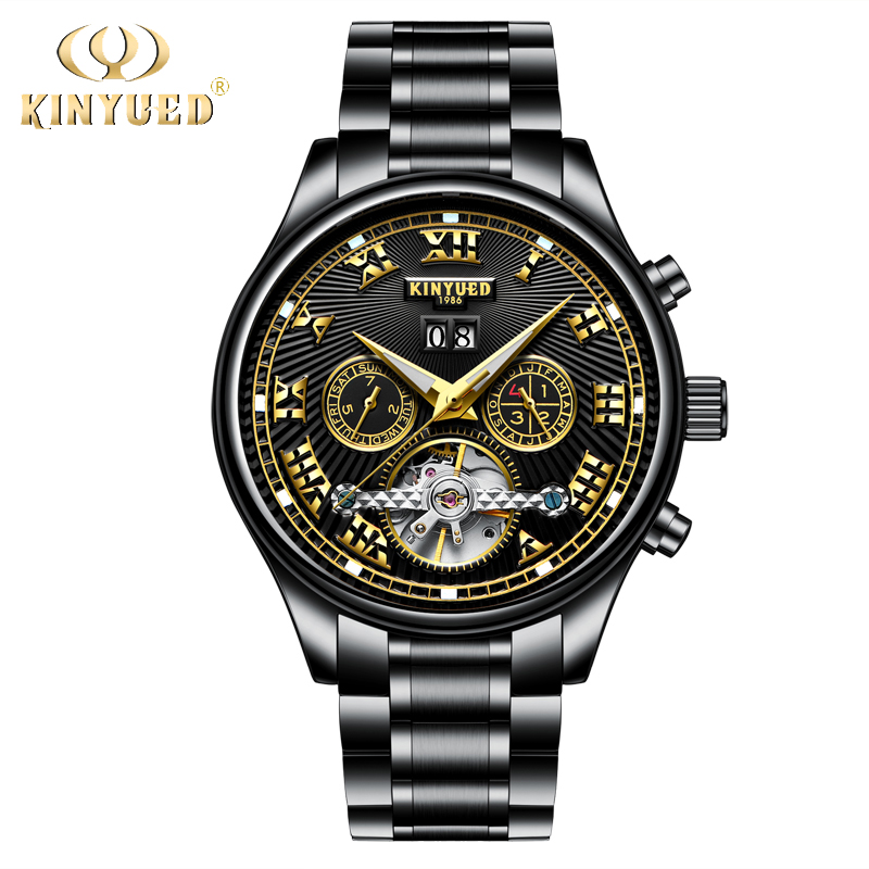 KINYUED Black Mens Mechanical Automatic Calendar Watches Stainless Steel Waterproof Skeleton Watch Men Relojes Hombre 2018 цена
