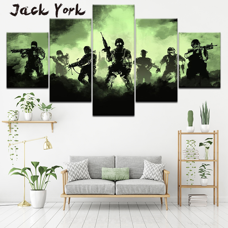 Canvas Painting Cool gaming free shipping 5 Pieces Wall Art Painting Modular Wallpapers Poster Print for living room Home Decor 1