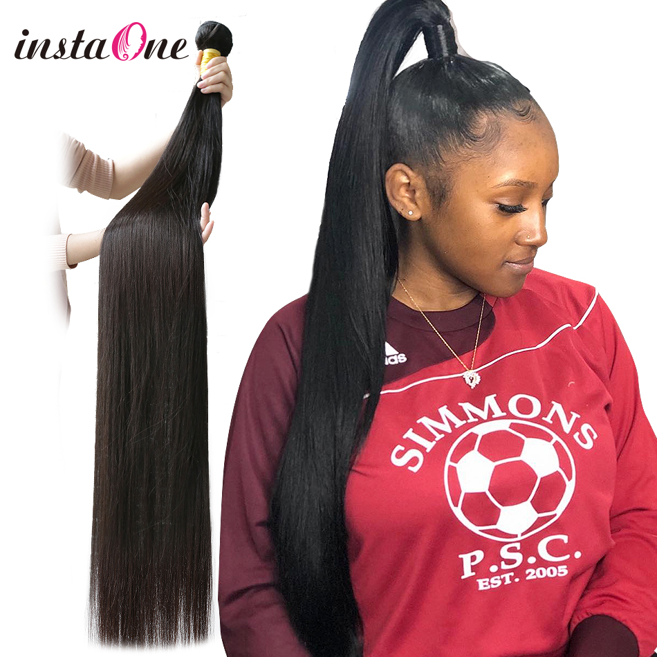 Brazilian Hair Weave 28 30 32 40 Inch Bundles Straight Unprocessed Human Hair Natural Color Raw Virgin Hair Weft Hair Extension(China)