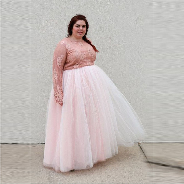 US $37.0 |Plus Size Adults Skirt Elastic Waistline A Line Floor Length Full  Maxi Skirt Personalized Light Pink Long Tulle Skirt -in Skirts from ...