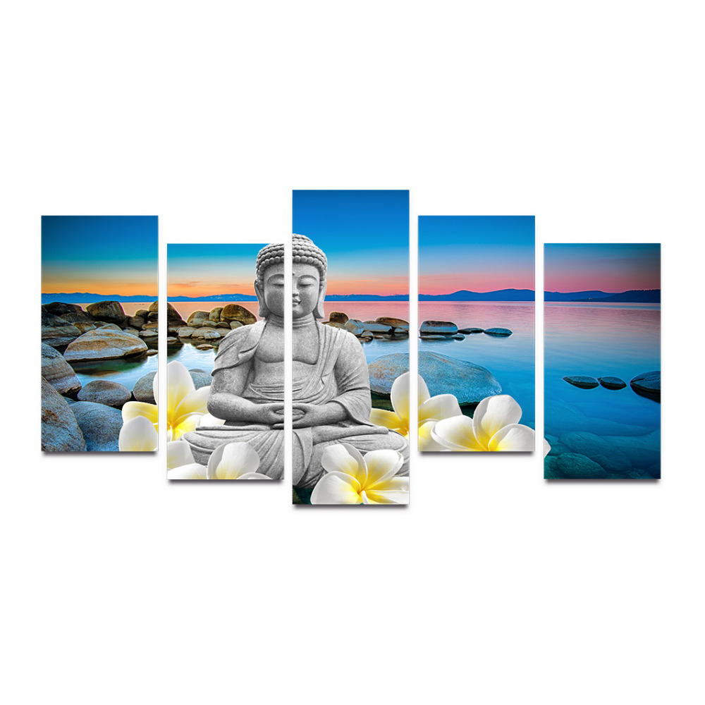 5 Panels Canvas Print Rock Stone Near The Ocean Painting