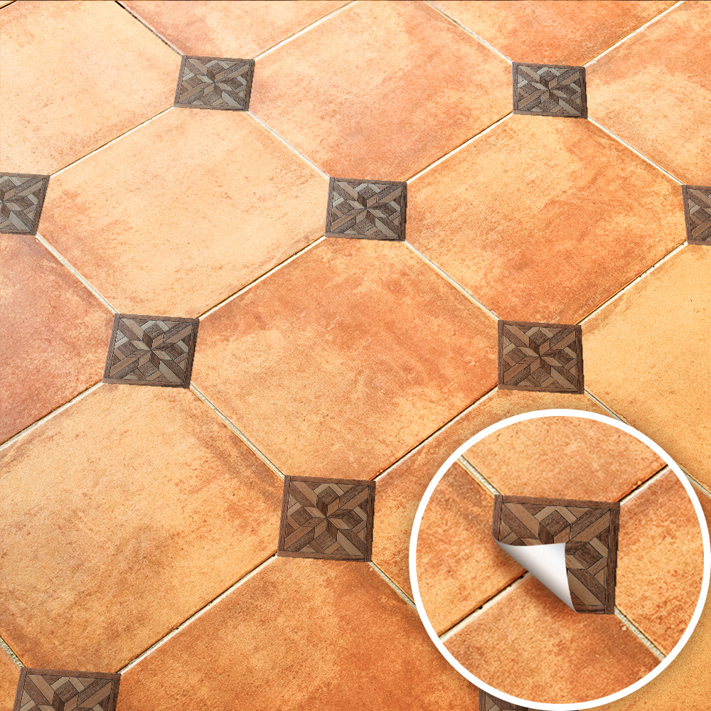 100pcs European Wood Grain Floor Wall Stickers Waterproof Ceramic Wallpaper Construction Tool Home Decor Decals Tile Sticker