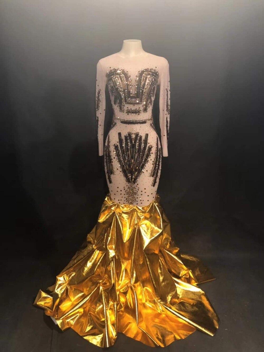 Strass scintillants paillettes d'or robe traînante femmes formelles soirée chanteuse une pièce Costume Bar Performance scène tenue