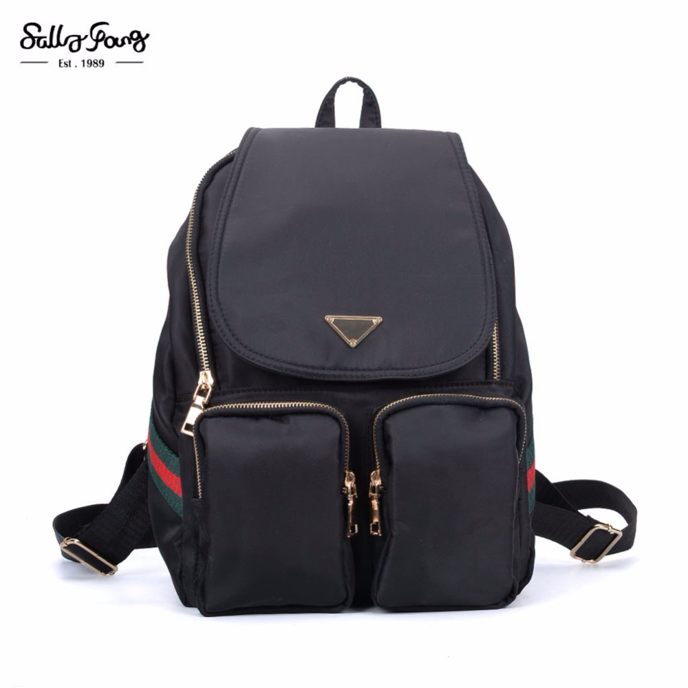 2017 Sally Young Fashion Bags Solid Nylon Solid Design Medium Fashion Backpack Small backpacks VK5277