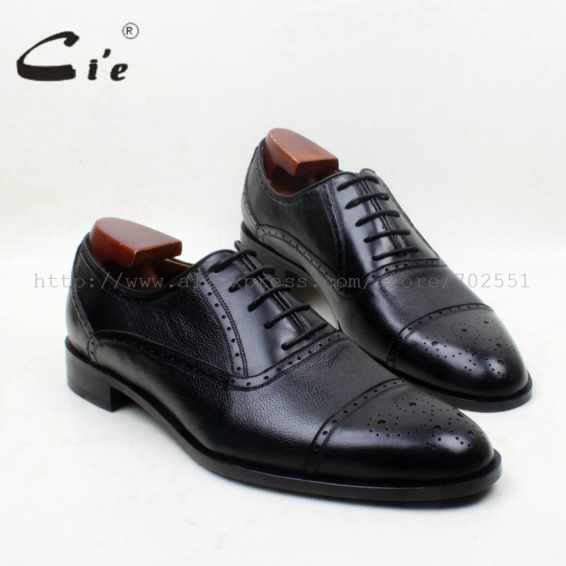 cie Round Plain Toe Solid Black Pepple Grain Mixed 100% Pure Genuine Calf Leather Outsole Breathable Men's Oxford Shoe No.OX684 cie round toe wine black mixed colors patches shoe100