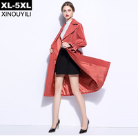 Orange Red Color Fashion Trench Coat Female Autumn 2017 XL 5XL Plus Size Thick Single Buttons