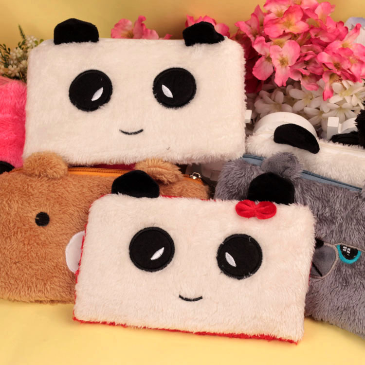 Bear Pencil Cases For Girls Kawaii Plush Panda Pen Bag Stationery Pouch Kids Gift School Office Supply Estuche