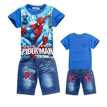 The new children's clothes suit summer boy Spider Man cartoon short sleeved T-shirt and denim shorts baby clothes explosion