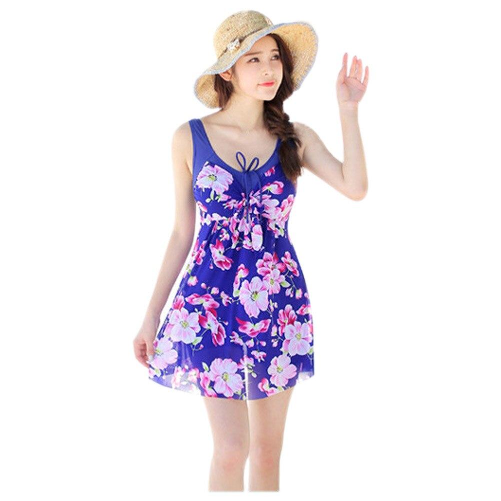 Women's One-piece Flower Printing Swimwear Flattening Cover Up Swimsuit Royal blue Flower S
