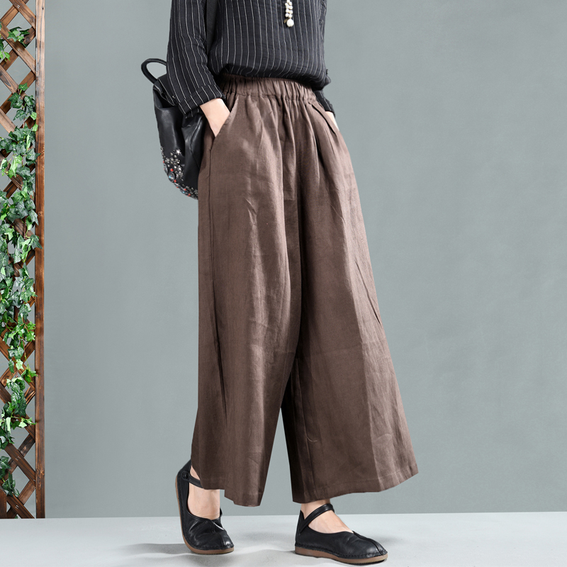 Spring pants Women Large size Loose pants New Female Blended Elastic Waist pocket Solid color Casual