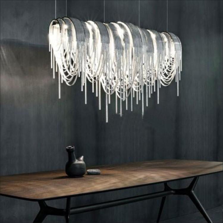 Italy Tassel Aluminium Chain Chandelier Lighting Modern Luxury Drop Light For Project Villa 110V 220V In Chandeliers From Lights On